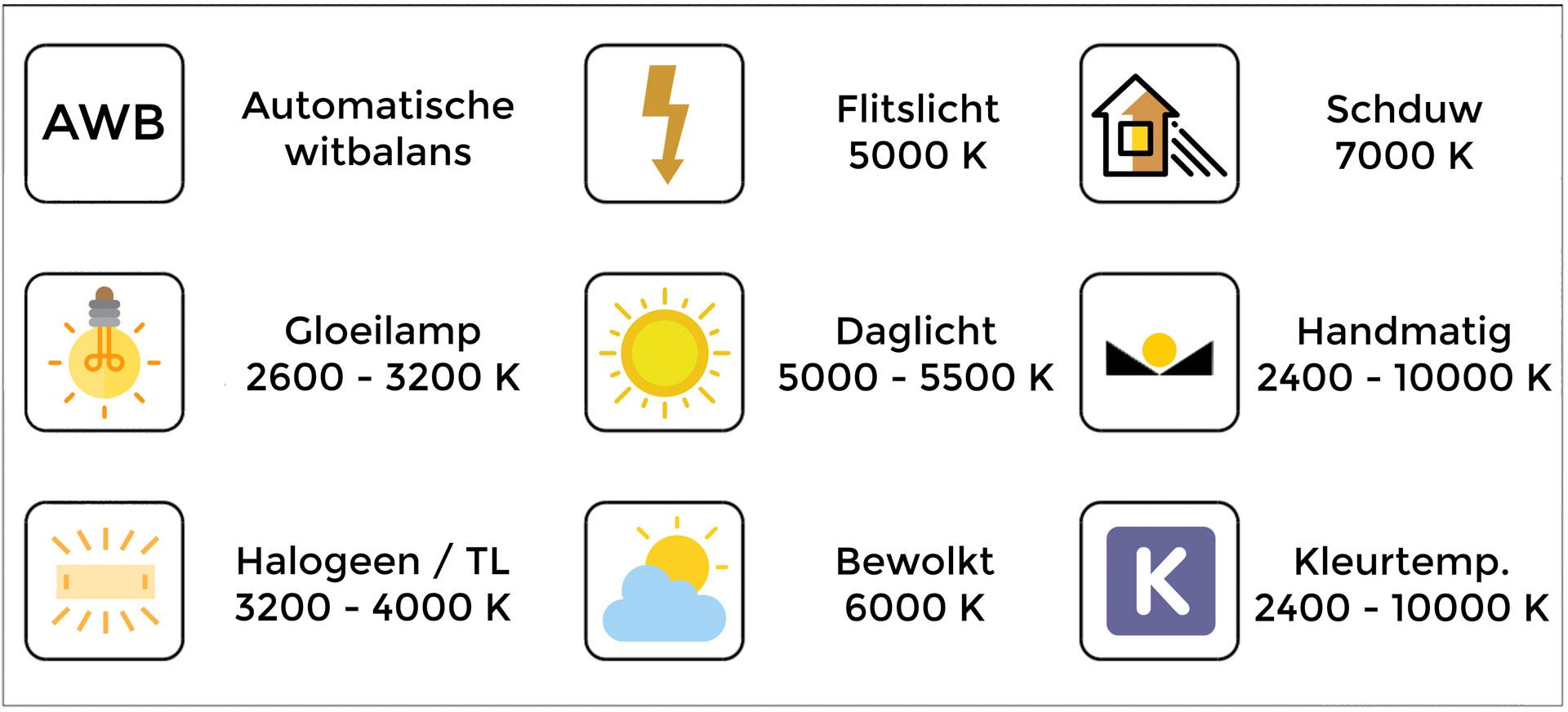 Witbalans voorkeuze schema