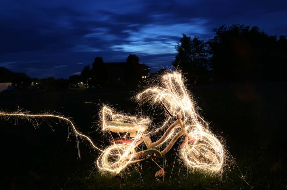 Light painting fiets