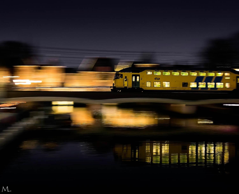 Nachtfotografie Amersfoort treinen