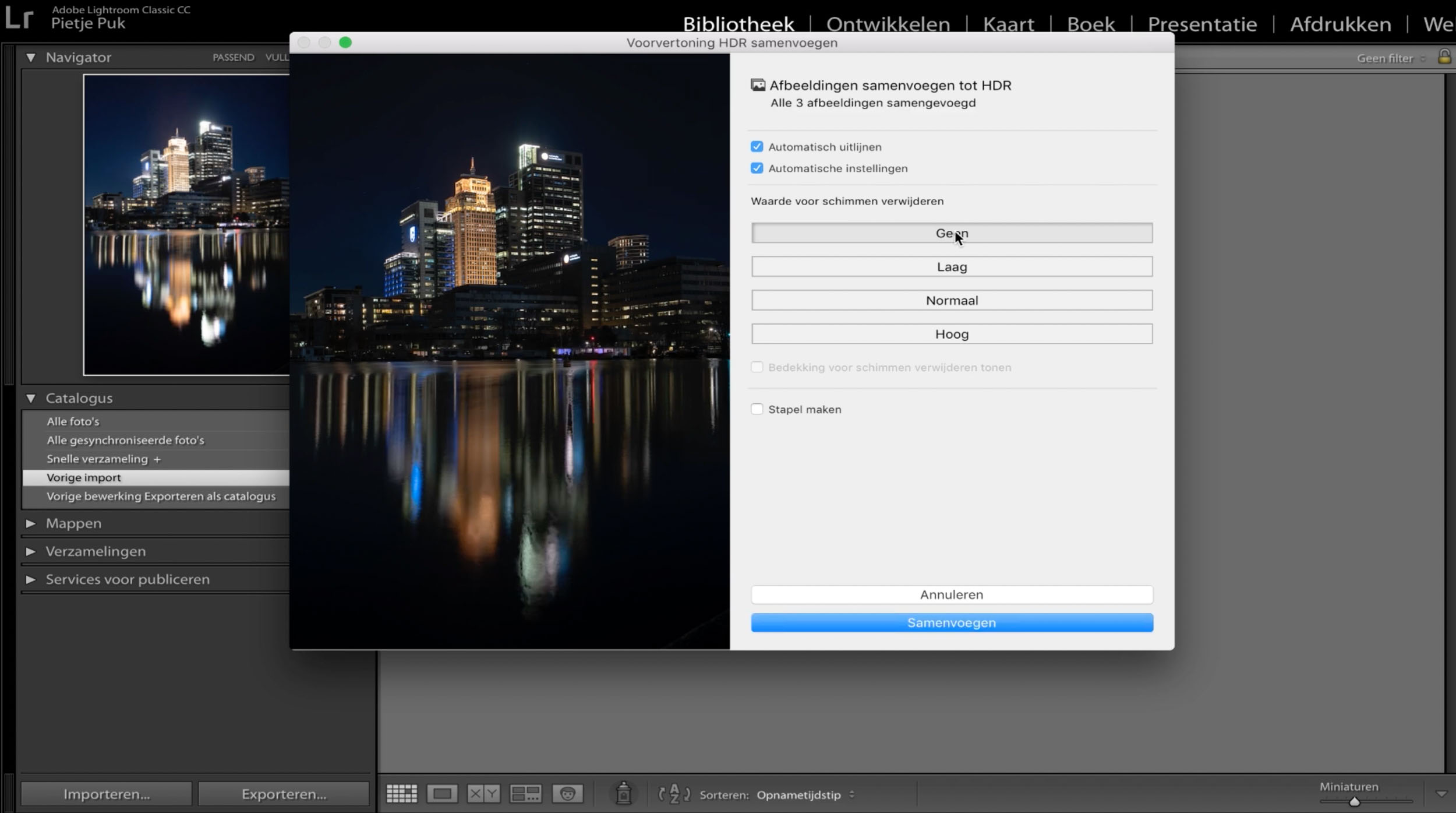 HDR foto samenvoegen in Adobe Lightroom