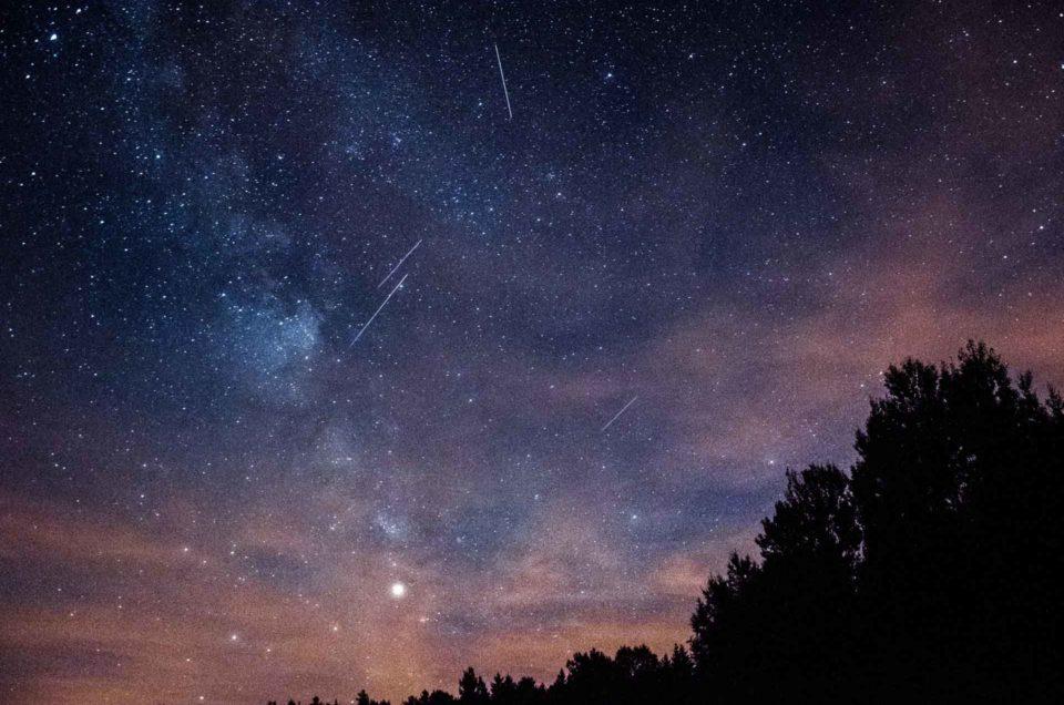 Perseïden, vallende sterren, Melkweg