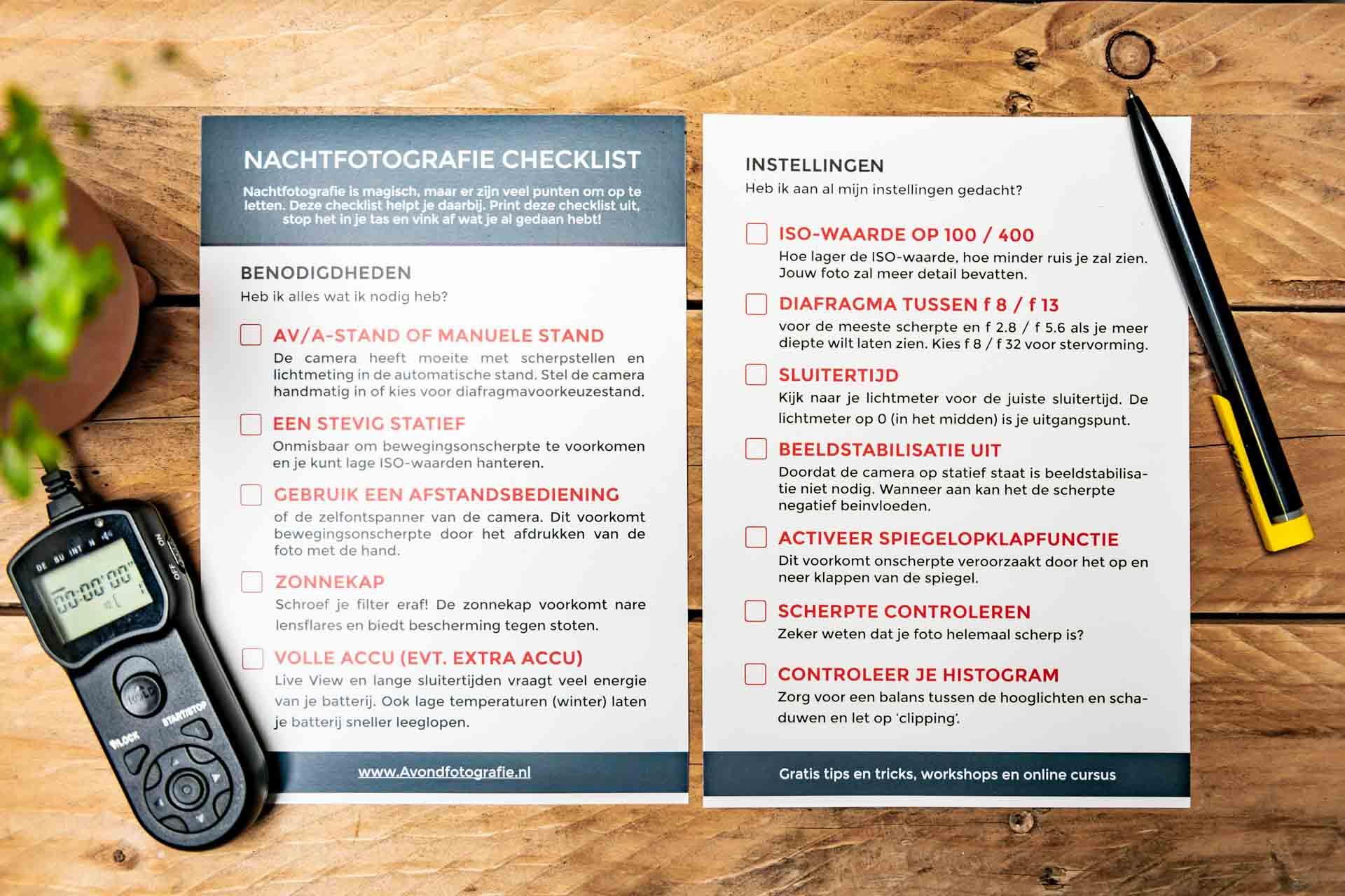 Nachtfotografie checklist Avondfotografie