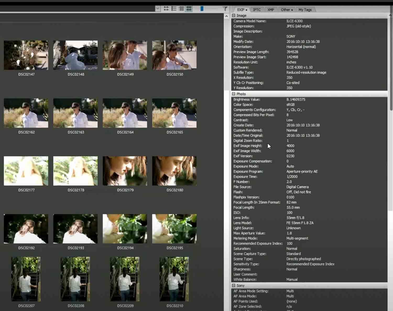 Picmeta aantal kliks camera