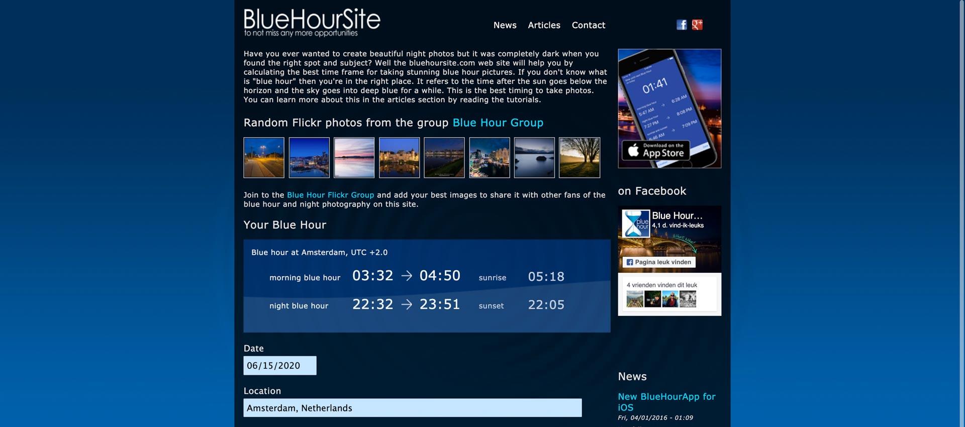 Tijden van het blauwe uurtje met deze handige website en app